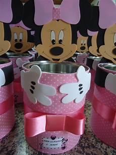 dulceros de mimi con botes de leche centro de mesa minnie rosa mimos da mi elo7