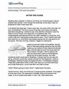 fillable online reading comprehension worksheet flood grade 5 free and printable grade 5