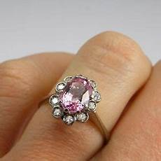 padparadscha pink sapphire engagement ring cluster 1950s 18k diamond gold ebay