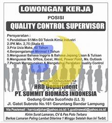 lowongan kerja quality lowongan kerja pt summit biomas indonesia