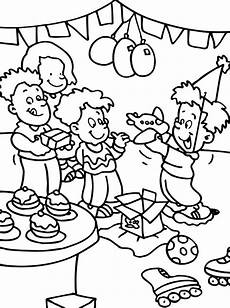 opening present at birthday coloring pages netart