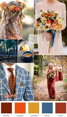 autumn colours wedding theme blue brown mustard orange rust