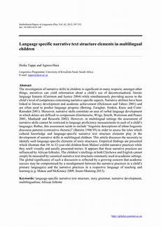 pdf language specific narrative text structure elements in multilingual children