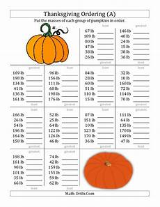 thanksgiving algebra worksheets high school 8433 the ordering pumpkin masses in pounds a math worksheet from the thanksgiving math worksheet