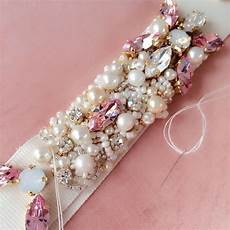 swarovski crystal pearl pink bridal belt one of a kind