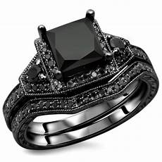 black diamond 925 sterling silver engagement ring evermarker