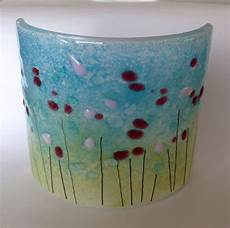 curved fused glass candle screen meadow design www firedcreations co uk stained glass art