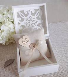 ring bearer box with personalized ring pillow white or ivory wedding ring box with lace