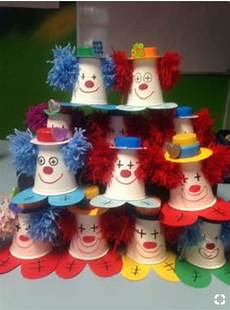 clown cups for the letter c karneval basteln fasching