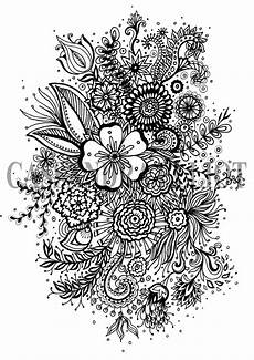 printable colouring page digital download print flower