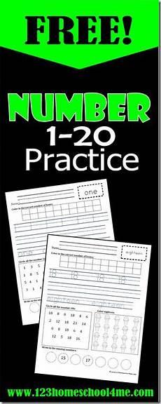 free kindergarten 1 20 number practice worksheets math worksheets and free math worksheets