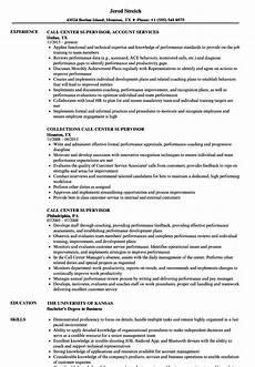 call center supervisor resume sles velvet