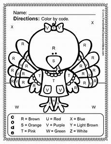 free color by number thanksgiving worksheets 16261 thanksgiving color by code kindergarten your letters and numbers bundle thanksgiving math
