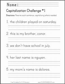 language arts capitalization worksheets free printable capitalization challenge worksheet language arts resources first grade
