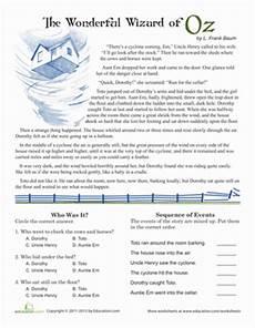 reading comprehension wizard of oz worksheet education com
