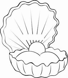muschel mit perle zeichnen malvorlagen