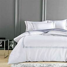 silky cotton hotel white bedding set