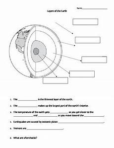 layers of the earth middle school science worksheet by