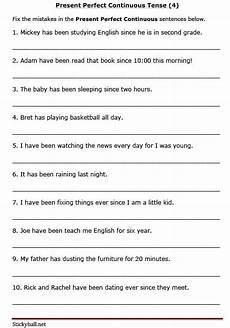 worksheets on present perfect continuous tense for grade 6 present perfect continuous tense 4
