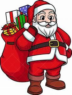 santa claus bearing gifts clipart vector