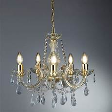 marie therese 5 light ceiling polished brass clear