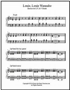 louie louie sheet music for piano chord exercises