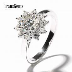 transgems 2 ctw carat lab grown moissanite diamond flower shaped wedding engagement ring halo