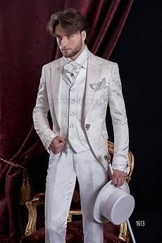 costume mariage baroque redingote en brocart blanc avec