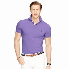 polo ralph slim fit mesh polo shirt in purple for