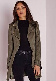 longue veste en faux daim vert kaki vestes et manteaux