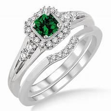 1 5 carat emerald diamond bridal halo engagement ring bridal 10k white gold