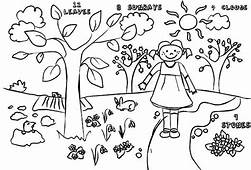 Kids Drawing Of Springtime Coloring Page  Download