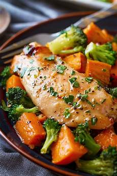 sheet pan maple glazed chicken with sweet potatoes eatwell101