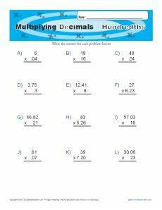 multiplying decimals tenths decimal worksheets