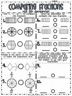 fraction worksheets numerator denominator 3899 comparing fractions like numerators and denominators by rhiannon sniffin