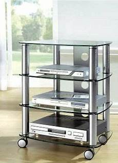 hifi rack glas hifi rack mit rollen tv phonowagen glas metall regal