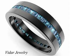 black gold rings baguette blue diamond wedding band for mens vidar jewelry unique custom
