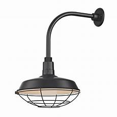 black outdoor barn wall light with gooseneck arm and 14 quot cage shade bl arml blk bl sh14 blk bl