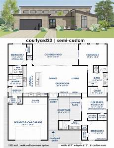 modern house plans with courtyard courtyard23 semi custom home plan 61custom