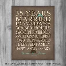 35 Years Wedding Anniversary Gift 35th year anniversary gift rustic burlap look personalized