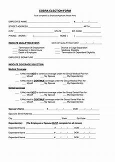 cobra election form printable pdf download