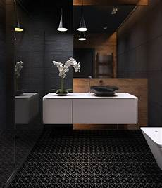 Black Tiles Bathroom 2 black matte porcelain triangle mosaic floor tile