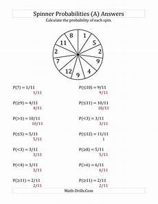 probability worksheet grade 7 6008 11 section spinner probabilities a
