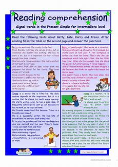 reading comprehension signal words in the present simple tense for intermediate level 2