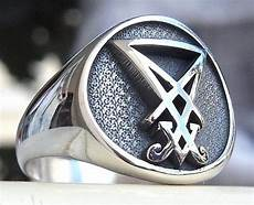 sigil of lucifer satan seal 3d ring solid sterling silver 925