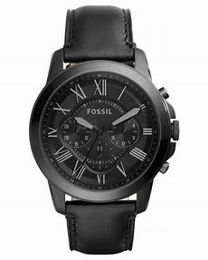 fossil s chronograph grant black leather