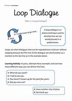 ks3 loop dialogue introduction worksheet by neilfbentley teaching resources