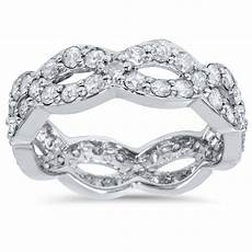 1 cttw diamond infinity eternity wedding anniversary ring 14k white gold ebay