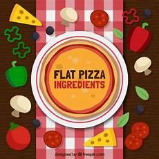 Verschiedene Materialien Fuer Die verschiedene zutaten f 252 r die pizza in flachen stil