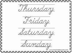 cursive handwriting worksheets days of the week 21350 2 cursive trace the days of the week worksheets kdg 2nd grade handwriting